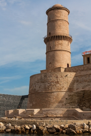 The photo shows The fortress tower in Marseille Stock Photo