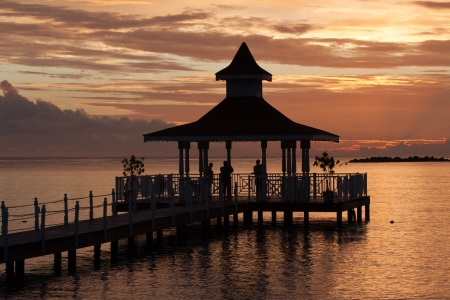 The photo shows the sunset at Caribbean Sea