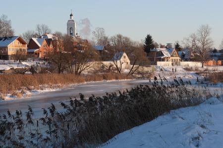 the winter village scene
