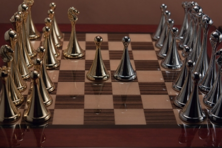 The photo shows the two chess pawns