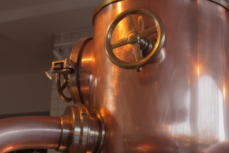 the copper tank with faucet  Stock Photo