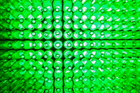 the bottles and green lights  Stock Photo