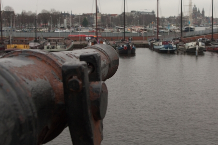 the old cannon in the Amsterdam  Stock Photo