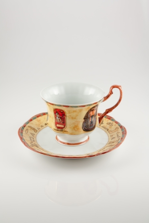 The photo shows the beautiful Egyptian porcelain cup.