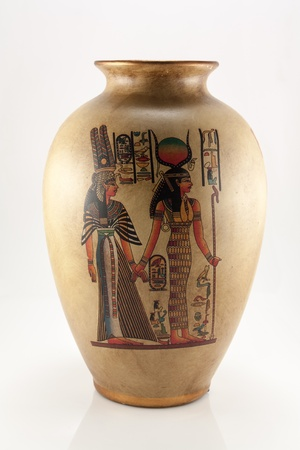 The photo shows the vase with Egyptian pattern. Stock Photo