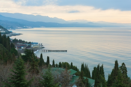 The photo shows the morning in Alushta