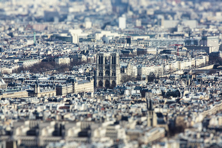The  photo show the top view of Paris with tily-shift filter. Stock Photo