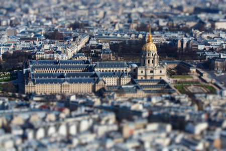 The  photo show the top view of Paris with tilt-shift filter. Stock Photo