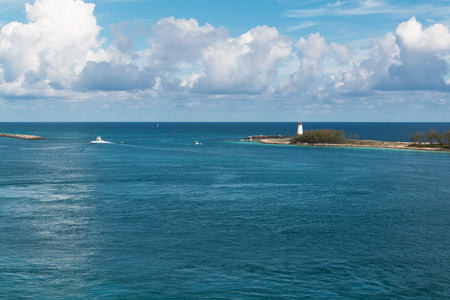 Photo shows the entrance to the harbor Nassau.