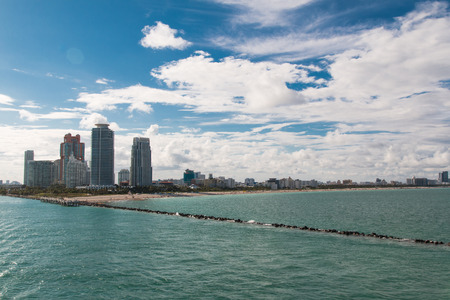 Photo shows a wonderful view of the Miami Beach aboard a cruise ship. Stock Photo