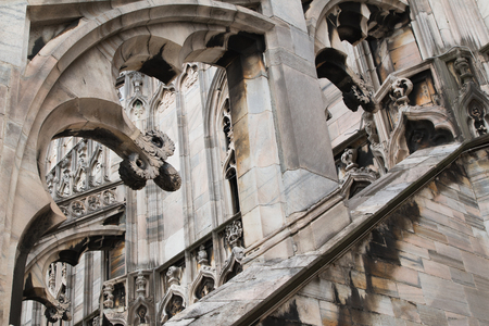 Fragment of the architecture of the Milan cathedral. 스톡 콘텐츠