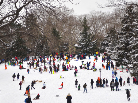disperse: Many disperse colorfully dressed people playing in the snow in Central Park New York.
