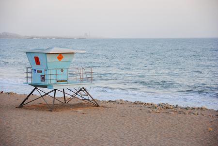 A lifeguard tower on a californian beach
