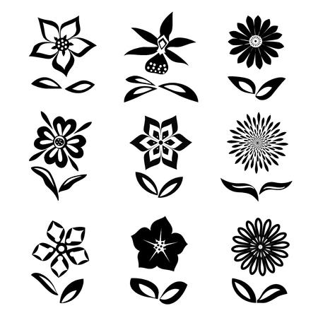 9 Blumen gesetzt. Schwarze Silhouetten auf weißem Hintergrund. Isolierte Symbole von Blumen und Blättern. Vektor Standard-Bild - 67662828