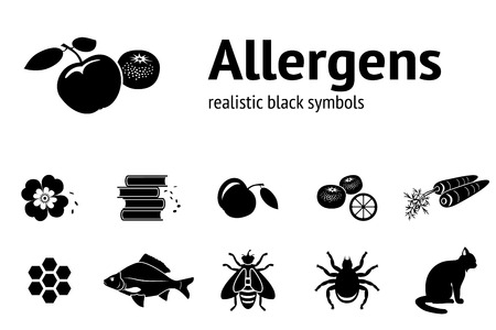 allergens: Allergen set. 11 realistic icons from tipical food and common allergens. Black silhouettes. Vector