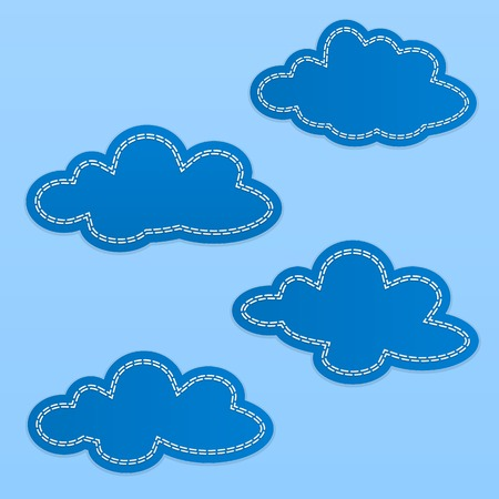 overcast: Set of cloud textile tags. Blue clouds with white dotted stitch lines. Blue sky.