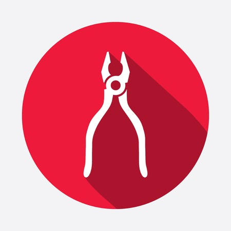 tongs: Pliers, tongs tool icon. Repair fix symbol. Round red circle flat icon with long shadow. Vector
