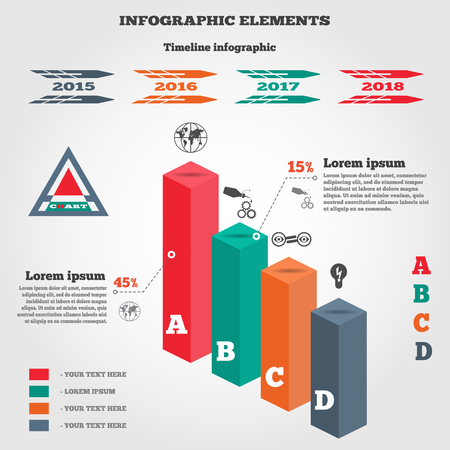 oilcan: Infographics elements. 3d columns chart of data with icons and shadow. Business step options. Prismatic solid and timeline diagram with icons. Modern colored flat banner with five options. Vector illustration. Illustration