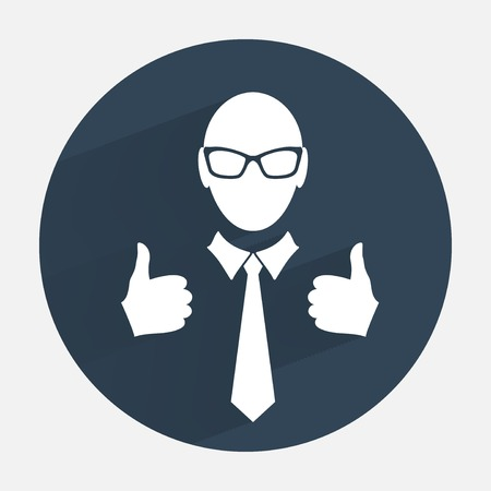 like hand: Businessman icon. Office worker symbol. Face cartoon with tie, glasses, like hand silhouette. Round dark gray circle flat icon with long shadow. Vector isolated