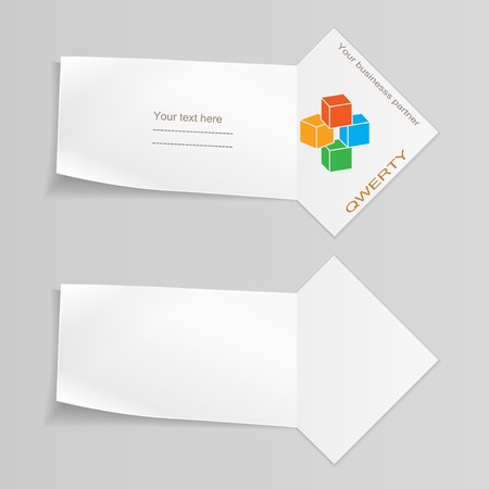 Paper banners with cube. Paper labels for your text. Ribbon, arrow for note. Stationery. Vector isolated.