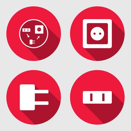 Steckdose Basis-Icon-Set. Energie Energie-Symbol. Rote Zeichen Auf ...