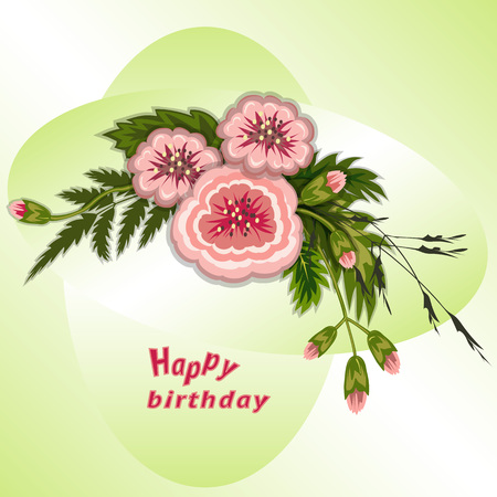 Floral composition. Bouquet of flowers on soft green background. Happy birthday pattern for woman. Greeting card. Vector illustration Çizim