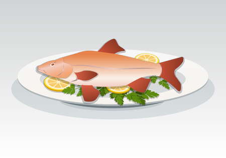 Fish icon. Crucian on white plate with lemon and herbs. Food, seafood dish symbol. Cyprinidae family. Fresh fish color sign with red fins on gray background. Vector isolated. Illustration