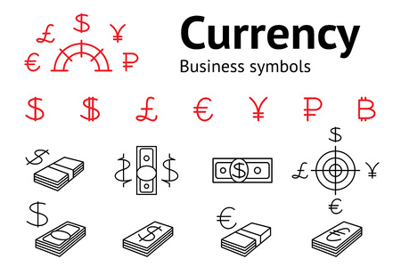 rub: Dollar, Euro, Pound, Yen, Ruble, Bitcoin currency icons set. USD, EUR, JPY,  GBP, RUB money sign symbols. Finance web buttons. Red and black on white. Vector isolated