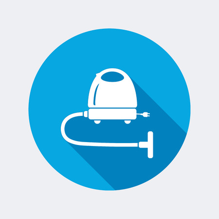 electric broom: Vacuum cleaner icon. Home equipment. Electric appliance. Round circle flat icon with long shadow. Vector
