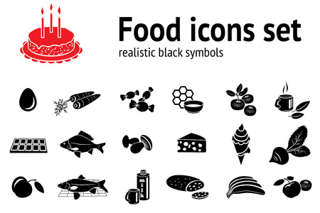 cheese cake: Food icon set. Fish sweets mushrooms honey tea cake icecream fruit vegetables egg milk cheese carrot chocolate bread banana apple. Meal, delivery symbols. Vector