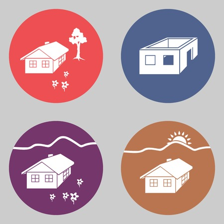 incomplete: House building icon set. Cottage, apartment buttons. Complete, incomplete project symbols. Round colorful signs. Vector