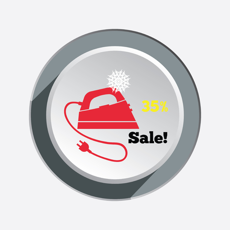 smoothing: Iron christmas sale button with shadow. Electric appliance for dress smoothing symbol. Vector