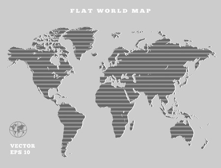 Striped gray world map royalty free cliparts vectors and stock world map striped grey map silhouette on gray background flat design vector isolated gumiabroncs Gallery