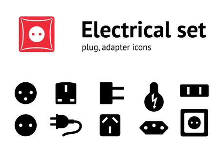 plug adapter: Electric plug, adapter, socket base icon set. Power energy symbol. Black icons on white. Vector isolated