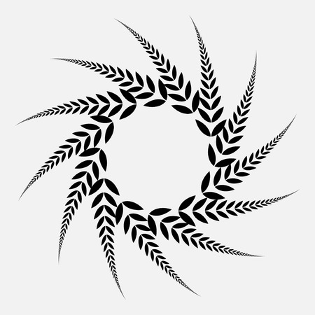 defense: Laurel wreath tattoo. Black spiral ornament, sign.  Defense, peace, glory symbol. Vector  isolated