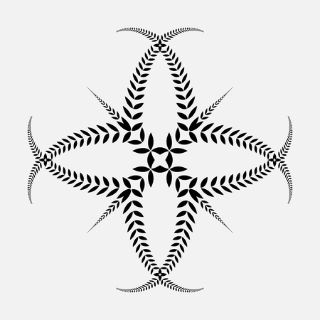 defense: Laurel wreath tattoo. Black ornament. Cross sign on white background. Defense, peace, glory symbol. Vector Illustration