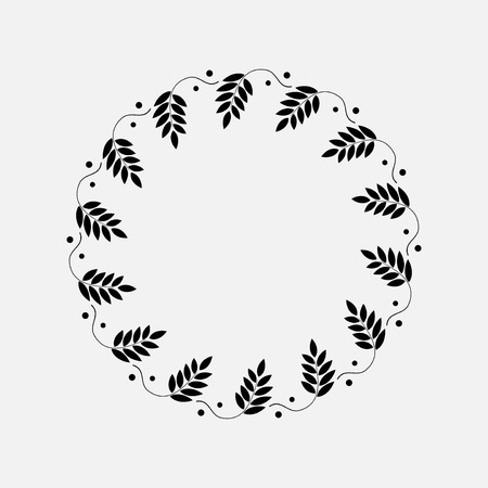 Laurel wreath circle tattoo. Sticks with berryes. Black ornamental sign. Victory, peace, glory symbol. Vector