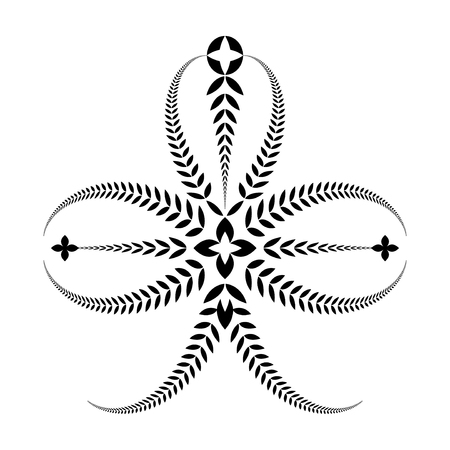 trifolium: Laurel wreath tattoo. Trefoil, trifolium. Black ornament. Three-leaved sign on white background. Defense, belief, glory symbol. Vector isolated
