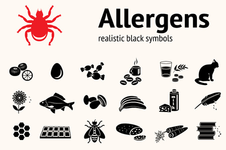allergens: Medical allergy icon set. Food and common allergens symbols. Fish cat insect sweets mushroom dust bee fruit flower citrus hackle egg milk cheese carrot bread book. Vector