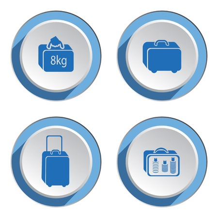 whiteblue: Airport baggage icon set.  Hand luggage for traveling. Info symbol. Blue icons on white-blue 3d button with shadow. Vector isolated