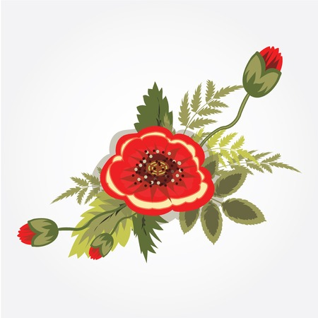 Red poppy bunch. Bouquet, boutonniere. Floral design. Abstract art holiday composition. Rememberance,  armistice day symbol. Vector illustration