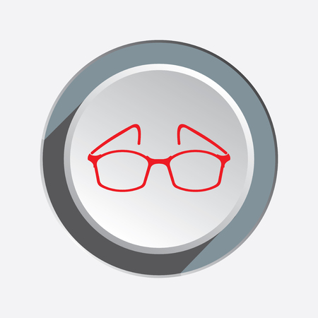 Eye glasses. Optical glass appliance for vision. Red silhouette on round three-dimensional button with shadow. Vector isolated