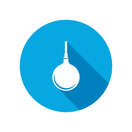 enema: Clyster tool icon. Enema symbol. Round circle flat icon with long shadow. Vector