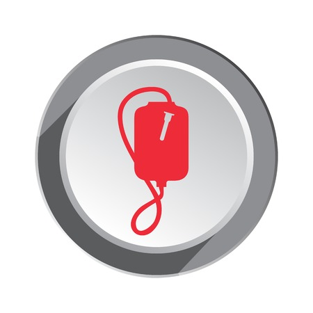 enema: Enema icon. Clyster tool symbol. Round three-dimensional button with shadow. Vector Illustration