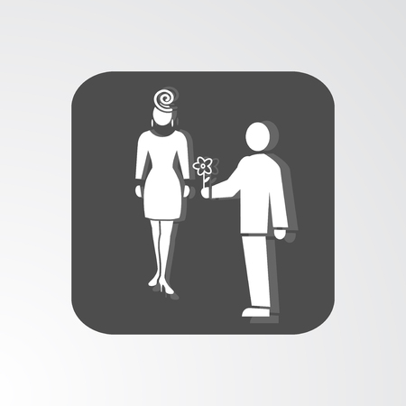 shadow people: Office web icon. Introduction and love symbol. White 2 people silhouette on dark grey background with shadow. Vector illustration