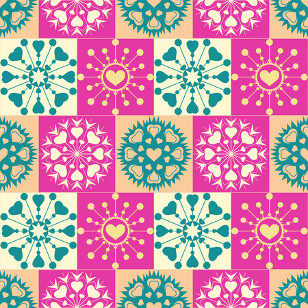 checked background: Christmas seamless pattern of heart snowflakes. New Year, Valentine day, birthday texture. Gold, magenta, cream, turquoise colored checked background. Winter  theme. Vector