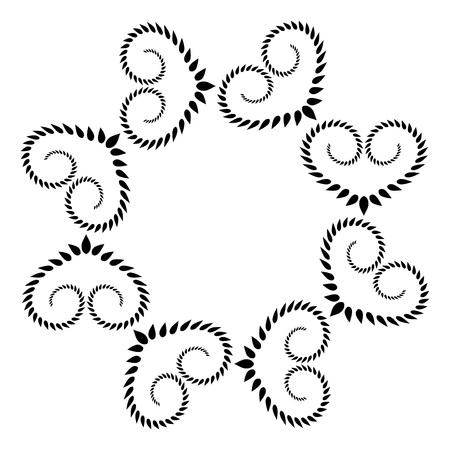 laurel leaf: Laurel heart wreath tattoo. Black stylized ornament, leaf silhouettes on white background. Valentine day, birthday, defense, belief, glory, love symbol. Vector Illustration