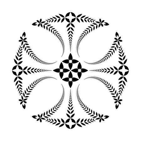 templars: Laurel wreath tattoo. Cross black ornament. Religion, Templars sign. Protection, peace, glory symbol. Vector isolated