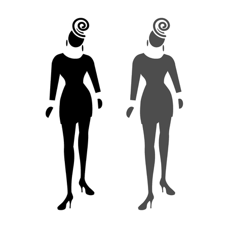 general manager: Busines lady web icon. High society, fashion symbol. Black and grey front standing silhouettes on white background. Vector illustration