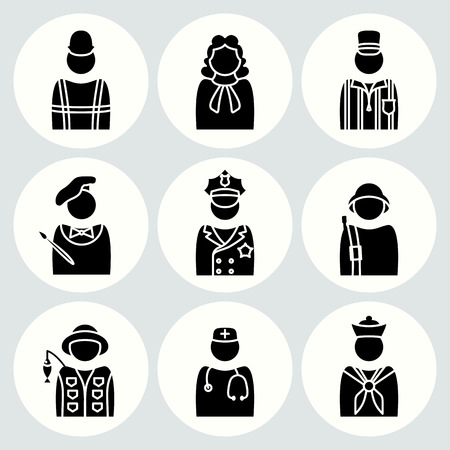 trade union: People profession icon set. Judge, painter, referee, doctor, cook, seaman, soldier, sailor, fisherman, builder, worker, policeman. Business symbols. Black avatar silhouette on white buttons. Vector Illustration